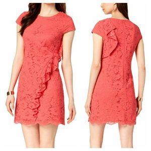 VINCE CAMUTO Ruffled Lace Mini Dress NWT Coral